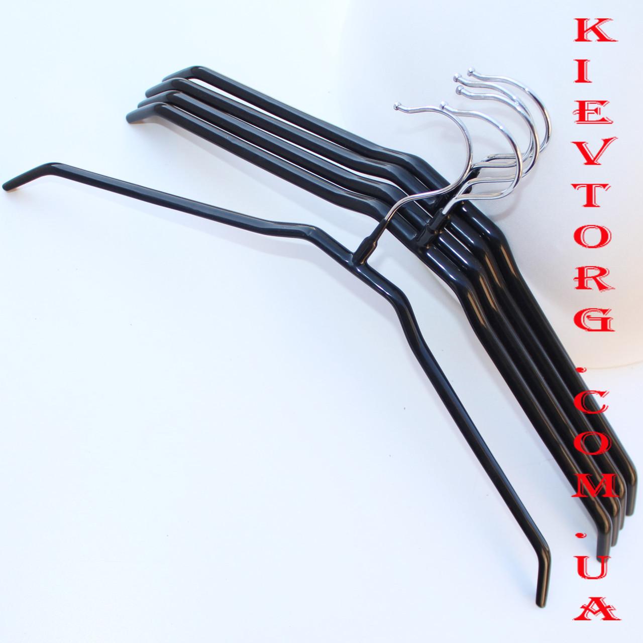 Плечики вешалки металлические силиконовые черные прорезиненные для одежды в шкаф, 40 см