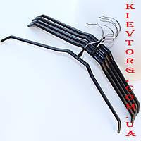 Плечики вешалки металлические с силиконовым покрытием черныепрорезиненные, 40 см