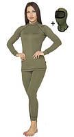 Комплект женского повседневного теплого термобелья Radical Hunter с балаклавой, хаки, фото 1