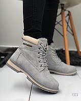 Женские зимние ботинки  серого цвета, эко  нубук 39 41 ПОСЛЕДНИЕ РАЗМЕРЫ