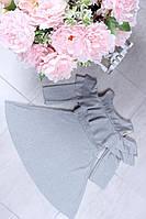 Нарядное платье на девочку Маргарита  р. 98-128 серебристо-серое