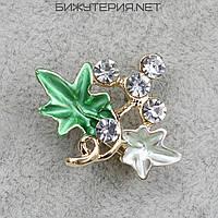 Брошь JB Два листочка, зеленая и белая эмаль металл золотого цвета декорирована стразами - 1055843841