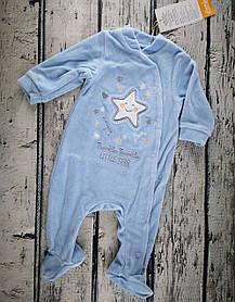 Комбінезон для малюків 1-2 місяці Розмір 56 блакитний велюр КБ105(56Г) Бембі Україна