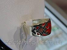 Кольцо серебряное с эмалевым покрытием вышиванка