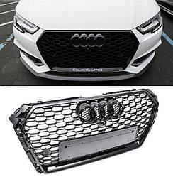 Решетка радиатора Audi A4 B9 (15-19) тюнинг стиль RS4 (черный глянц)