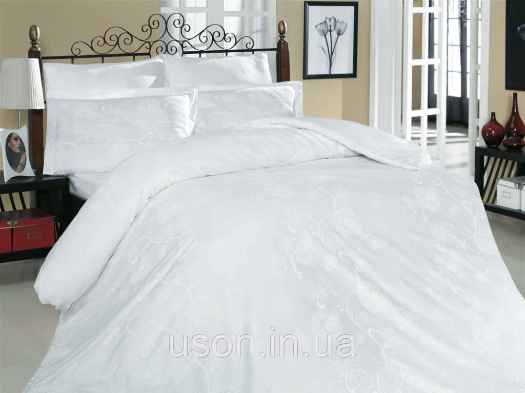 Комплект постельного белья сатин  Altinbasak Sehrazad Beyaz
