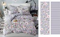 Комплект постельного белья двуспальное евро 200*220 простынь на резинке (13102) бязь Ранфорс