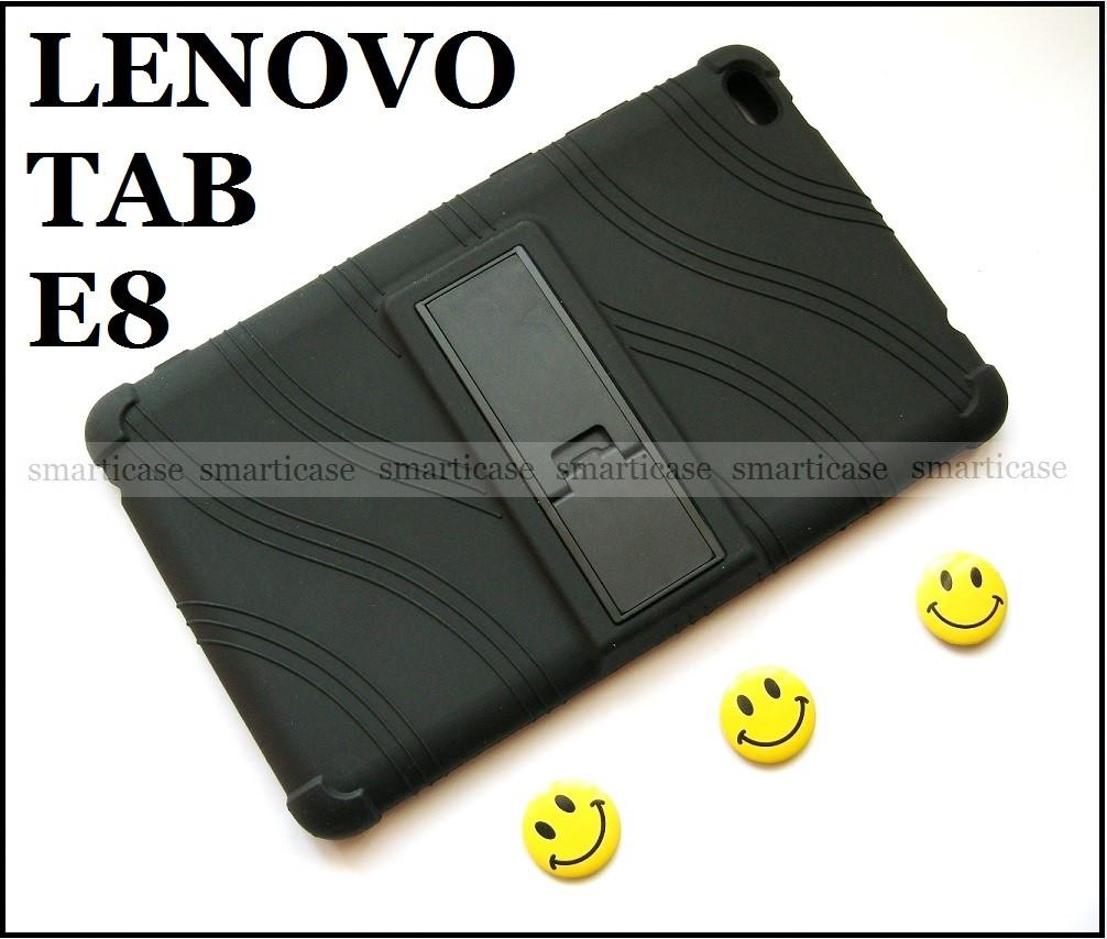 Черный противоударный чехол Lenovo Tab E8 TB-8304F TB-8304L резиновый с подставкой