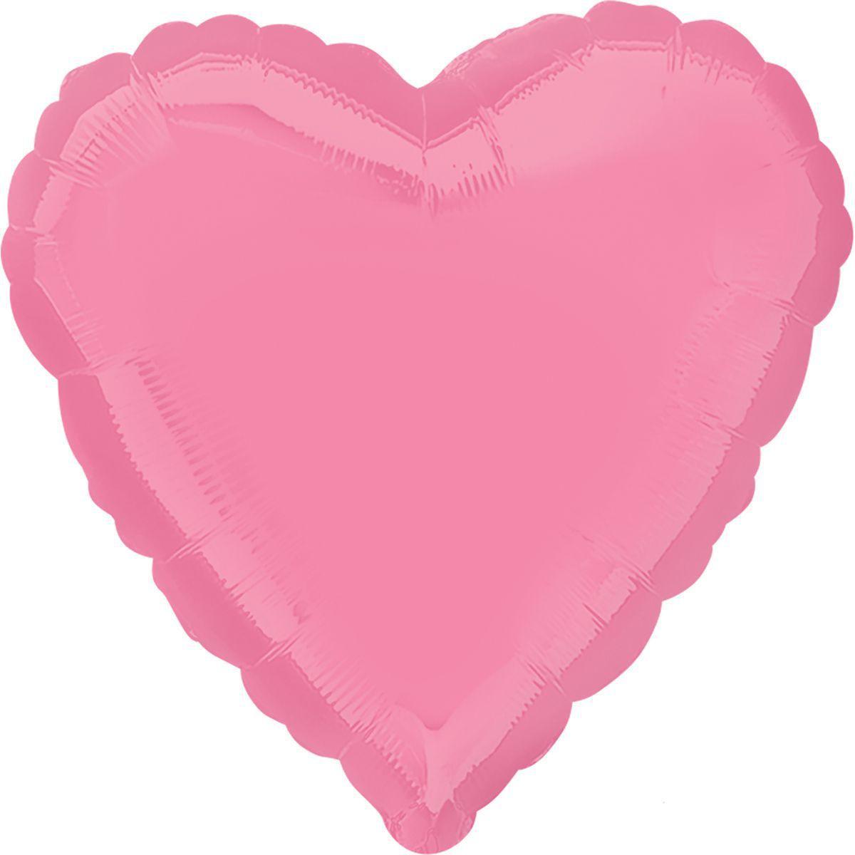 Фольговані кулі без малюнка серце 18/45 пастель яскраво-рожеве(США)