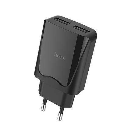 Мережевий зарядний пристрій HOCO C52A Authority Power 2,1 A / 2 USB-порт (Чорний), фото 2