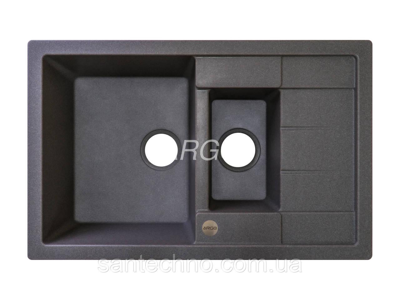 Гранитная кухонная мойка с крылом и фруктовницей Argo Stella Plus Dark Grey 780*500*200 (Темно-серая)