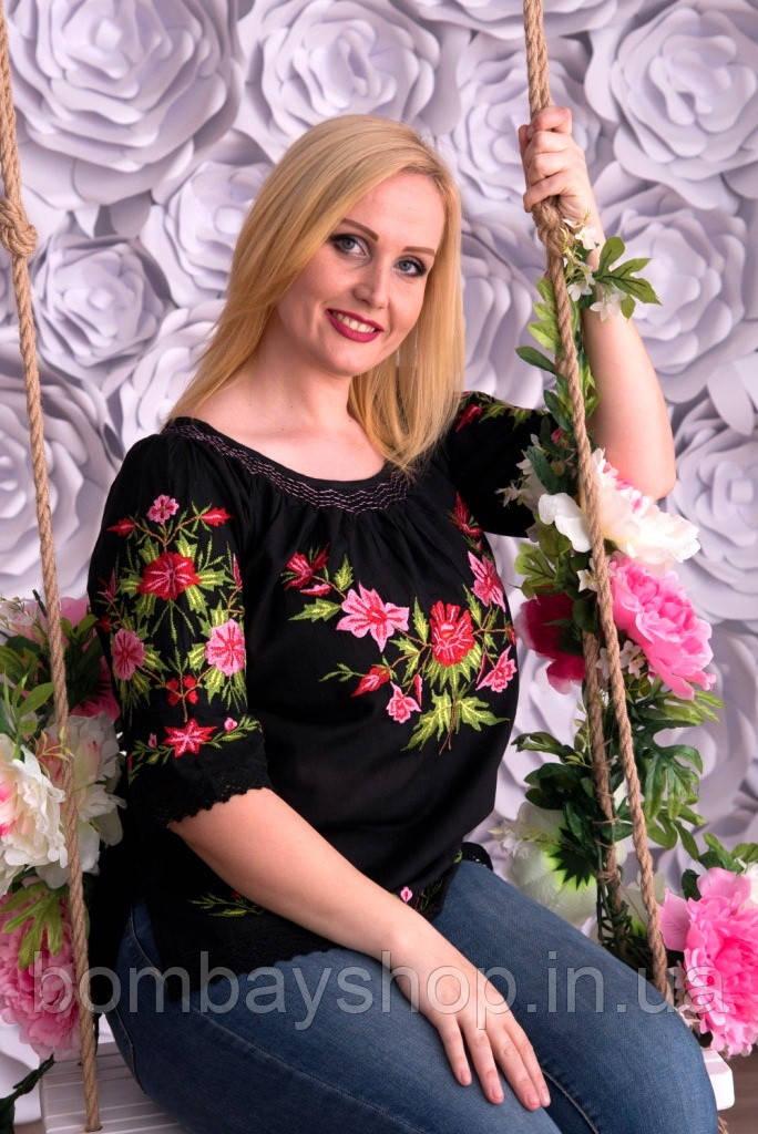 Легка жіноча чорна полотняна вишиванка з яскравою подільською вишивкою квітами №142-3