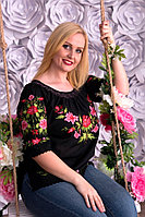 Легка жіноча чорна полотняна вишиванка з яскравою подільською вишивкою квітами №142-3, фото 1