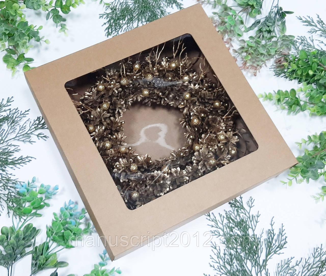Кооробка  с  крышкой 360х360х100 мм. для подарков, новогодних венков