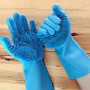 Силіконові рукавички для прибирання,миття посуду блакитні, фото 2