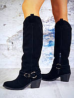 Зимние замшевые сапоги  на каблуке 36-40 р чёрный, фото 1