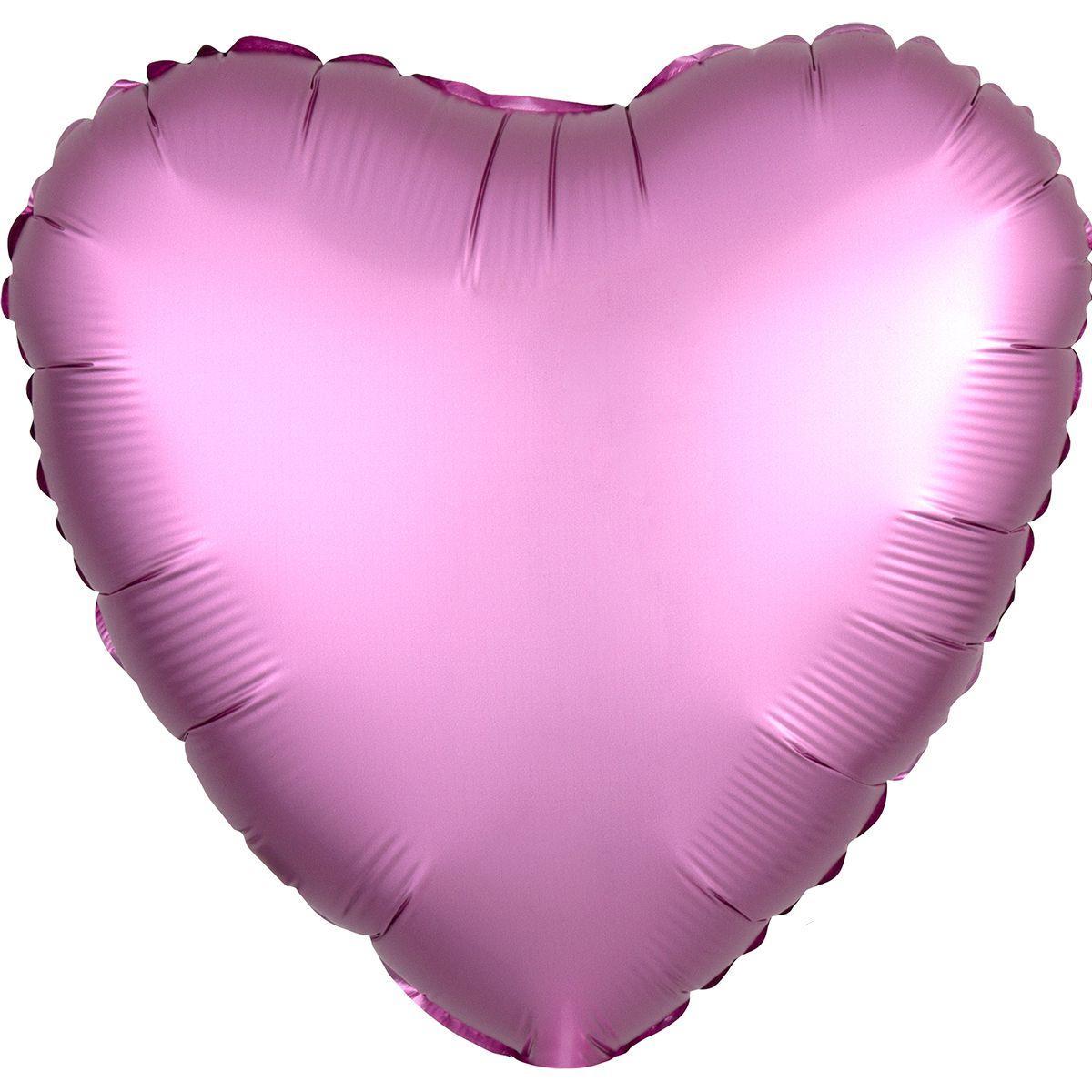 Фольговані кулі без малюнка серце 18/45 сатин фламінго (США)