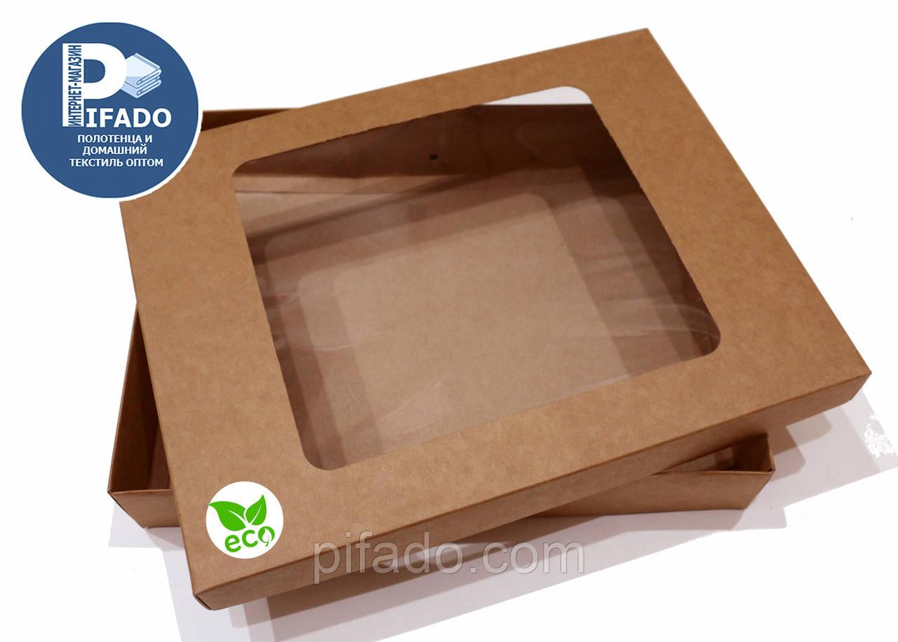 Подарункова упаковка з крафт-паперу 37х28х6. Модель OJ-1