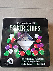 Покерный набор на 100 фишек с номиналом + две колоды карт в металлической коробке