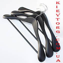 Вешалки плечики деревянные черные soft touch (антискользящие обрезиненные) для верхней одежды, 45 см