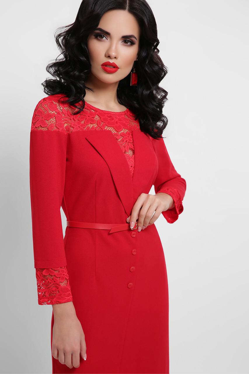 Платье с кружевом в красном цвете Леония