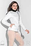 Короткая демисезонная куртка стеганая белая, фото 2