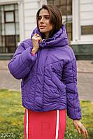 Женская коротка куртка на зиму фиолетовая