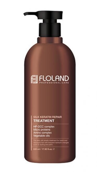 Восстанавливающая маска-бальзам для волос с кератином Floland Premium Silk Keratin Treatment Объем 500 мл