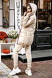 Удлиненная стеганая куртка на синтепоне бежевая, фото 3