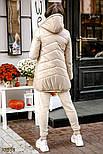 Удлиненная стеганая куртка на синтепоне бежевая, фото 4