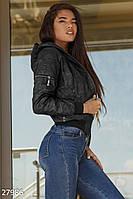Женская короткая куртка-бомбер черная
