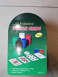 Покерний набір в металевій коробці 120 фішок + карти + сукно