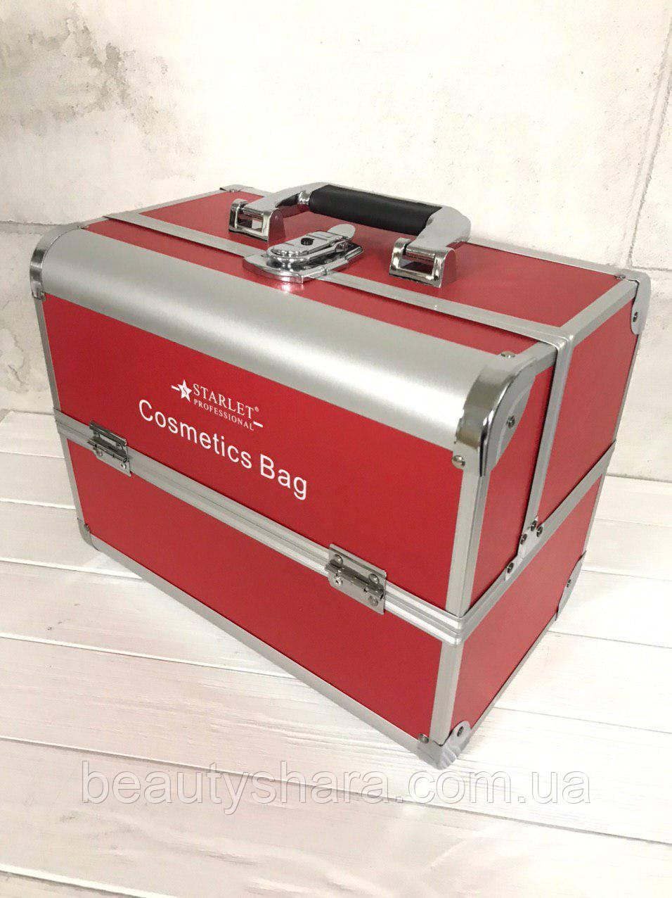 Кейс для косметики алюминиевый Starlet (красный)