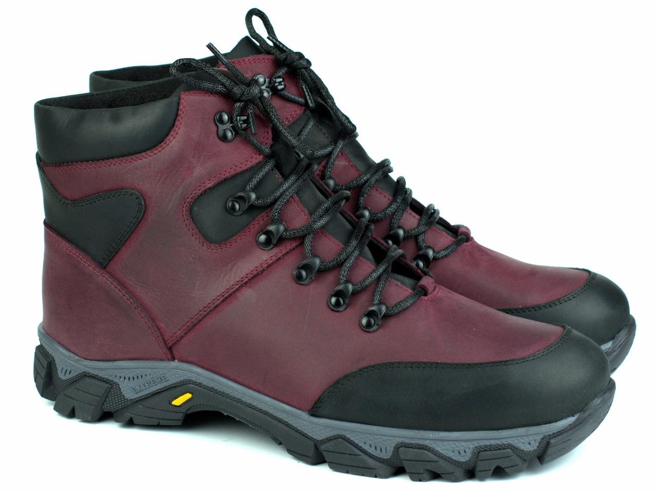 Большие размеры зимние мужские бордовые кожаные ботинки на овчине обувь Rosso Avangard Pro Lomerflex Burgu BS