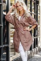 Легкая удлиненная куртка из эко-замши коричневая