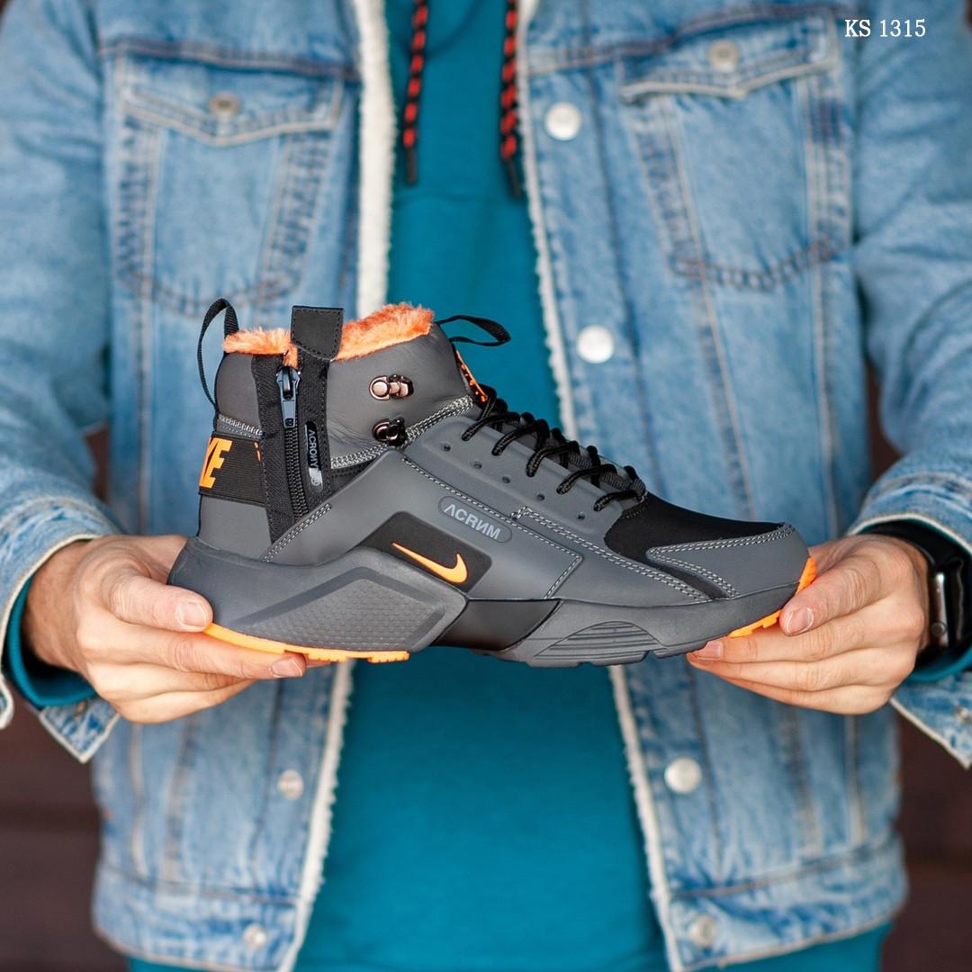 Зимние кроссовки Nike Air Huarache Acronym (черно-оранжевые)
