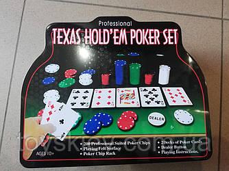 Покерний набір TEXAS HOL'DEM POKER SET в металевій коробці 2000 фішок + 2 колоди карт + сукно