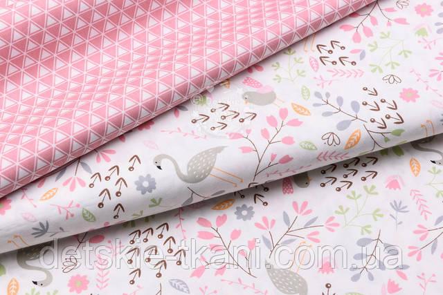 Тканина сатин з фламінго і рожевими гілками