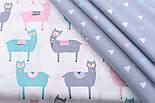 """Сатин тканина """"Трикутники в шаховому порядку"""" блакитні, білі, рожеві на сірому, №2503с, фото 4"""