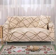 Чехол для трехместного дивана, бежевый с узором