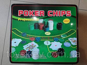 Покерний набір в металевій коробці на 500 фішок з номіналом.