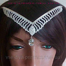 Диадема, тикка под серебро с подвесным камнем,  корона, тиара, высота 5 см.