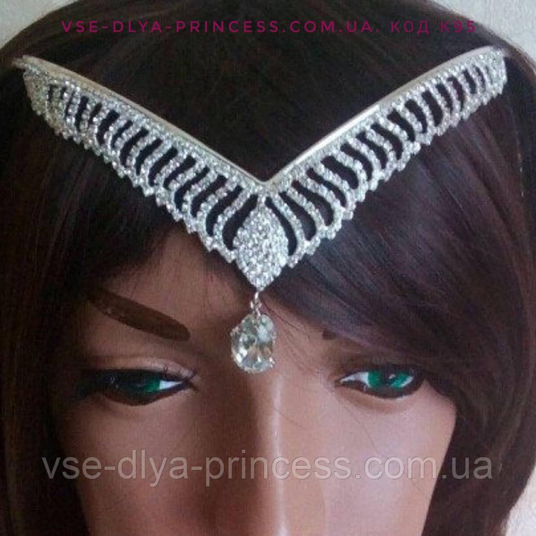 Диадема, свадебная тикка под серебро с подвесным камнем,  корона, тиара, высота 5 см.