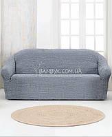 Чехол натяжной на диван Karna Vip (без оборки, рюшей) серого цвета
