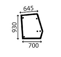 Стекло двери правое верхнее экскаватора погрузчика Ford 555B, 555C, 555D, 575D, 655C, 655D, 675D