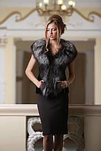 Жилет з фінської довгошерстої чорнобурки SAGA Furs і чорного мутона