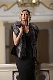Жилет из финской длинношерстной чернобурки SAGA Furs и черного мутона, фото 5