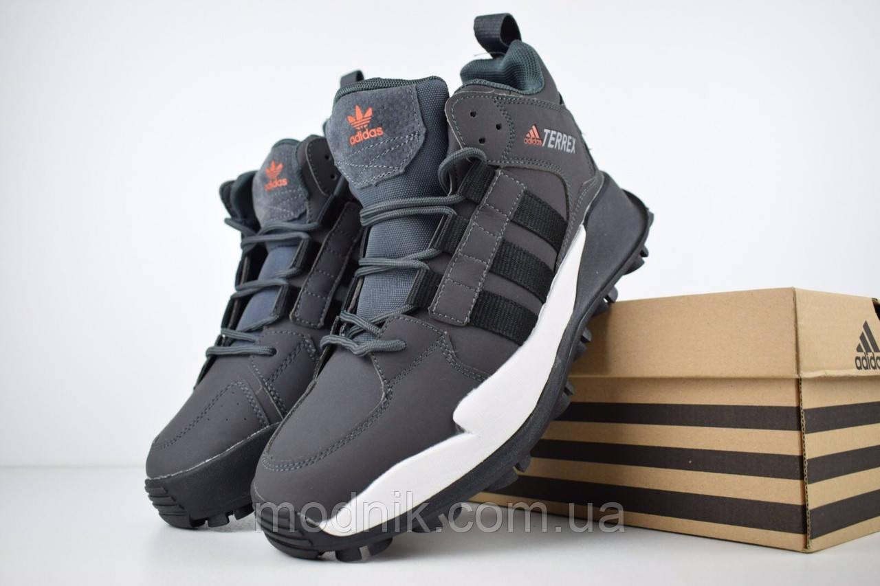 Мужские зимние кроссовки Adidas Terrex (серые)