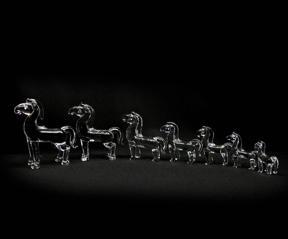 Кони хрустальные (набор 7 шт)(26х16х6 см)