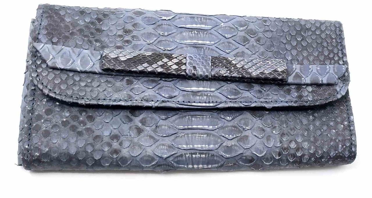Кошелек Super Hit из кожи питона  (30х11х2 см) сине -серый